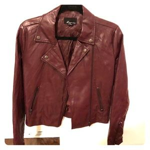 Maroon Forever 21 Faux Leather Jacket Size M